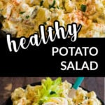 a collage with two images of potato salad and a text overlay