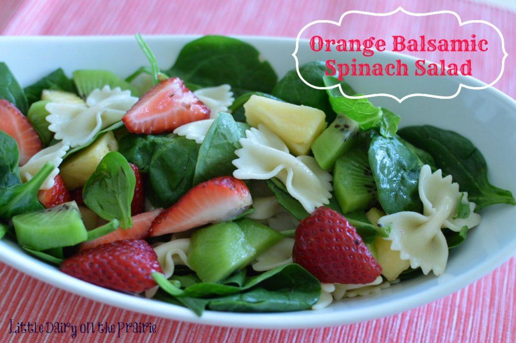 Orange Balsamic Vinaigrette Salad, Fresh Fruit, Pasta Salad