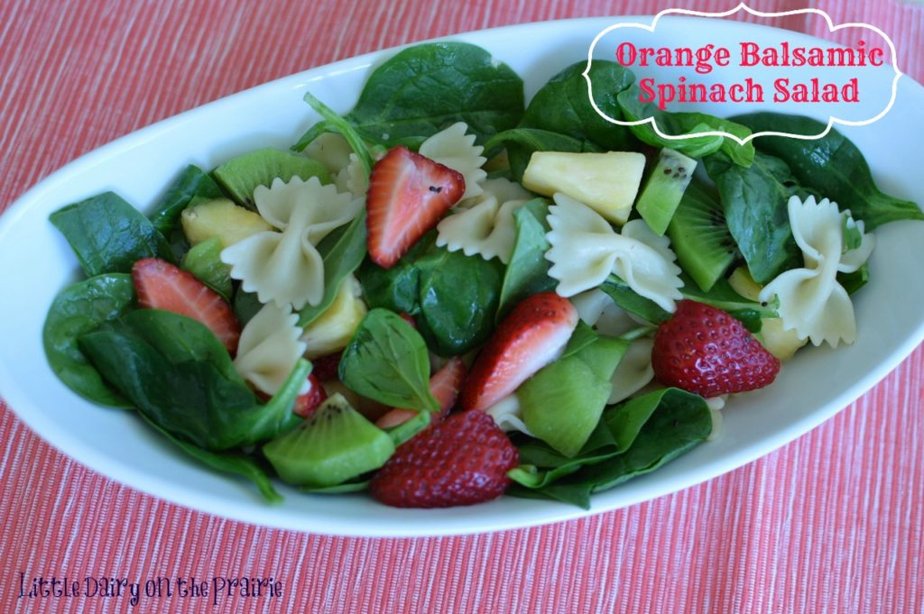 Pasta, Spinach and Fruit Salad with Orange Balsamic Vinaigrette