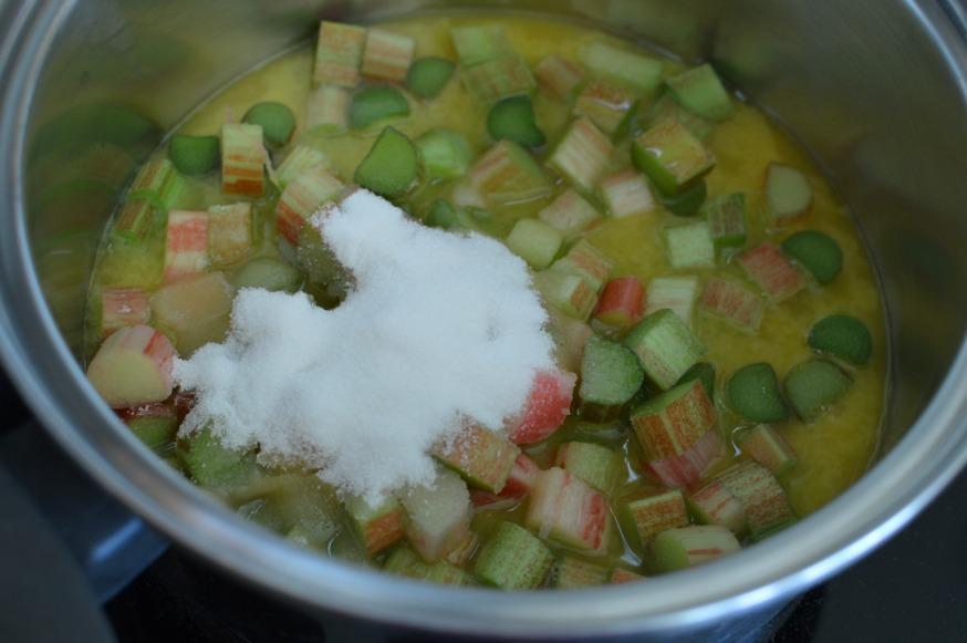 diced sweetened rhubarb