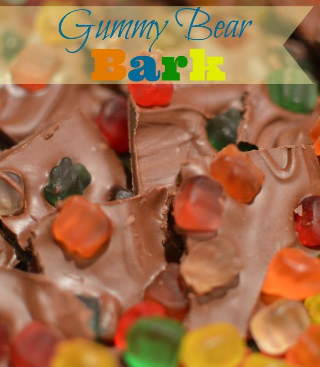 Gummy Bear Bark, Kids Dessert Recipe, No cook dessert, Gummy Bear Candy