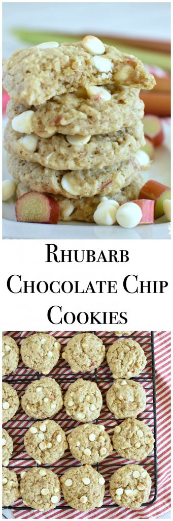 Rhubarb Chocolate Chip Cookies are a moist cake like cookie that's full of chocolate chips! www.littledairyontheprairie.com #rhubarb #cookies #fruitdessert #dessertrecipe #recipe #food #chocolatechipcookies #oats #easyrecipe #summerrecipe #fruit #oatmealcookies