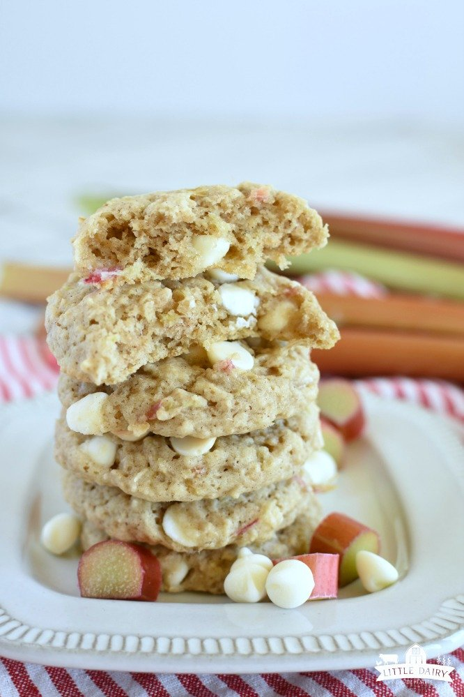 a stack of oatmeal cookies made with rhubarb