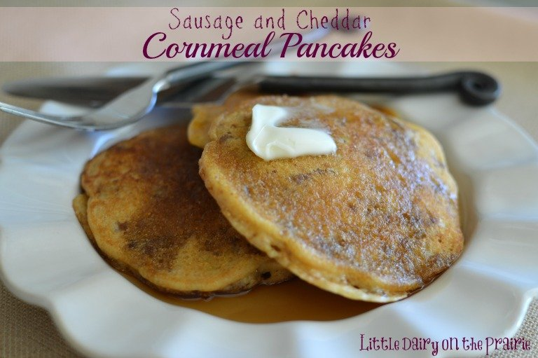 Sausage and Cheddar Cornmeal Pancakes