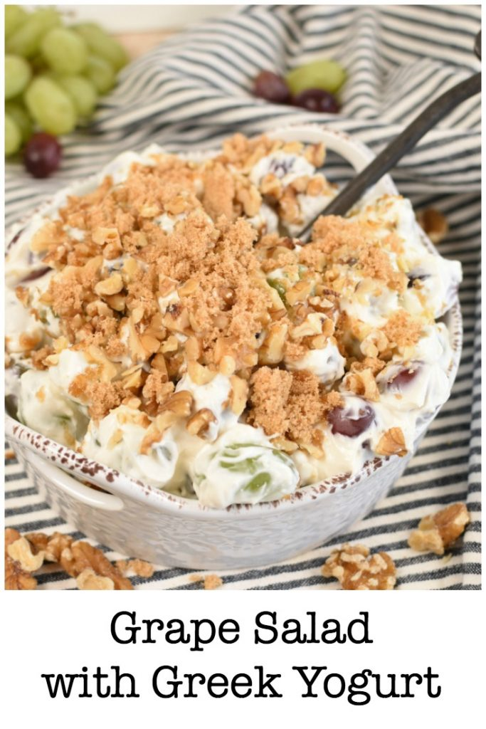 Grape Salad with Greek Yogurt only takes about 5 minutes to make and a few ingredients; cream cheese, sour cream, yogurt, and grapes. Plus it has a streusel topping! #fruitsalad #greekyogurt #wintersalad #easyrecipe #grapes #creamcheesesalad #freshfru.jpg