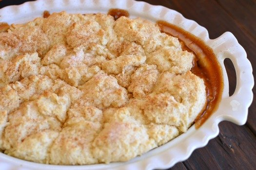 Cinnamon peach cobbler! My house smells amazing while it bakes, not to mention how yummy it is!