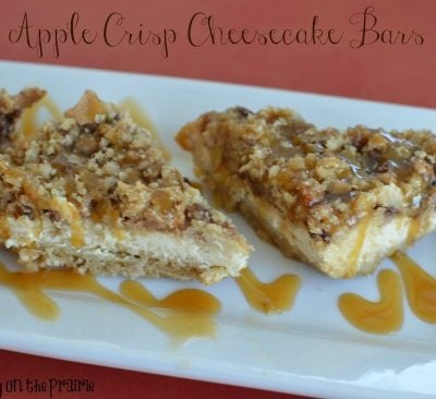 Apple crisp cheesecake bars drizzled with warm caramel!