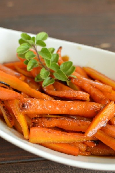 Maple syrup glaze on carrots is almost like eating carameled carrots! Amazing!