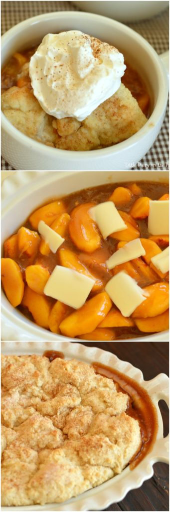 The most scrumptious Fresh Peach Cobbler has a cinnamon spice filling and a melt in your mouth topping! Divine!