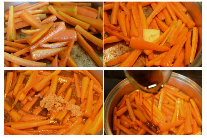a collage of four images showing step by step instructions of how to make maple glazed carrots