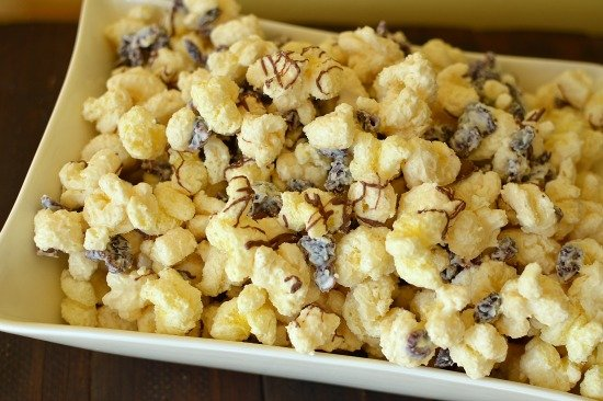 White Chocolate, dried cranberry and Puff corn.