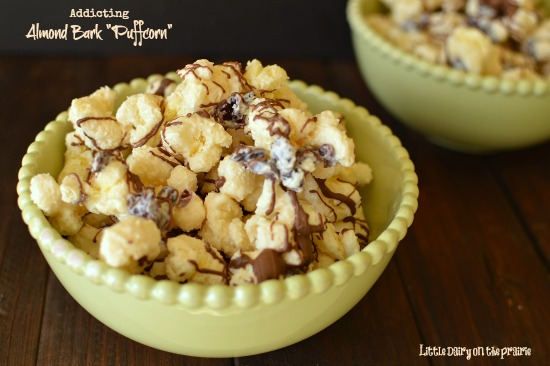 White chocolate, dried cranberries and salty puffcorn. Soooo addiciting!