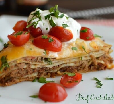 Beef Enchilada Stack! Even better the next day!