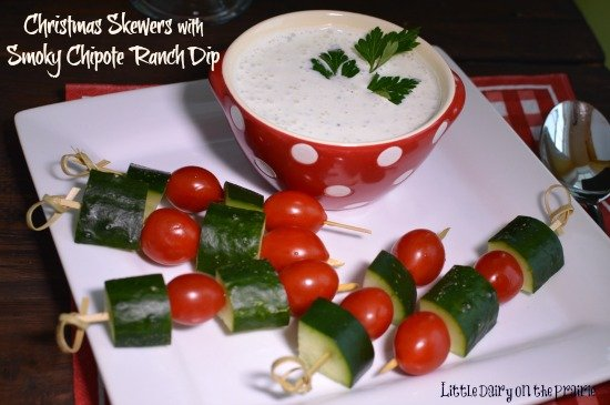 Festive veggie skewers for Christmas. Plus a dip that will warm you up!