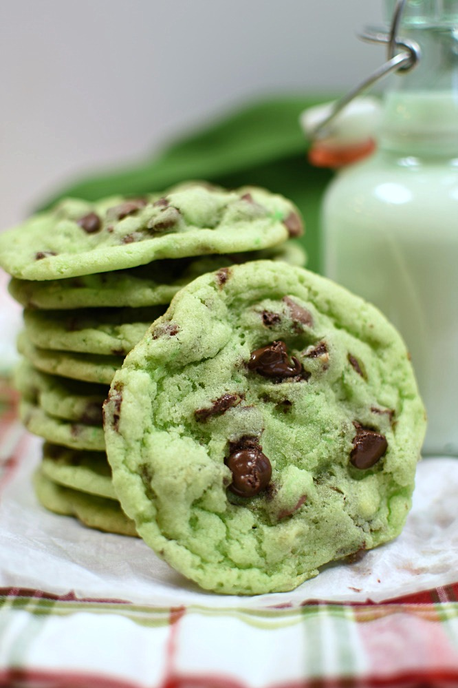 green mint chip cookie and a glass of milk