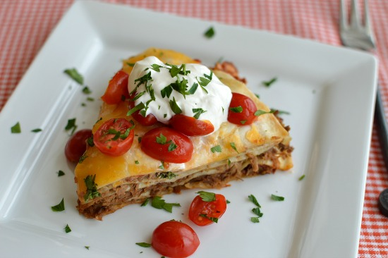 Shredded Beef Enchilada Stack!!