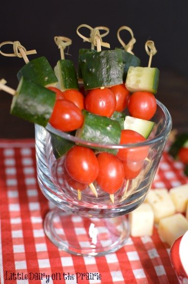 Veggie skewers are a fun way to offer something healthy at your holiday buffet!