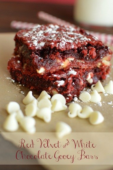 I've been making a version of these gooey bars forever. I finally tried Red Velvet and they are everything I thought they would be! Rich, gooey and chocolaty! - Little Dairy on the Prairie