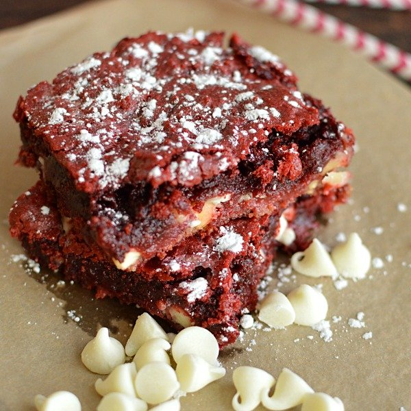 Red Velvet and White Chocolate Chip Gooey Bars!!!