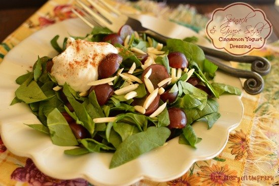 Sweet grapes, crunchy almonds and creamy cinnamon dressing make this salad explode with flavors! You won't miss the calories at all! -  Little Dairy on the Prairie