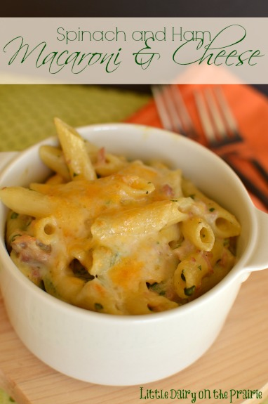 Creamy Macaroni and Cheese with ham and spinach! - Little Dairy on the Prairie