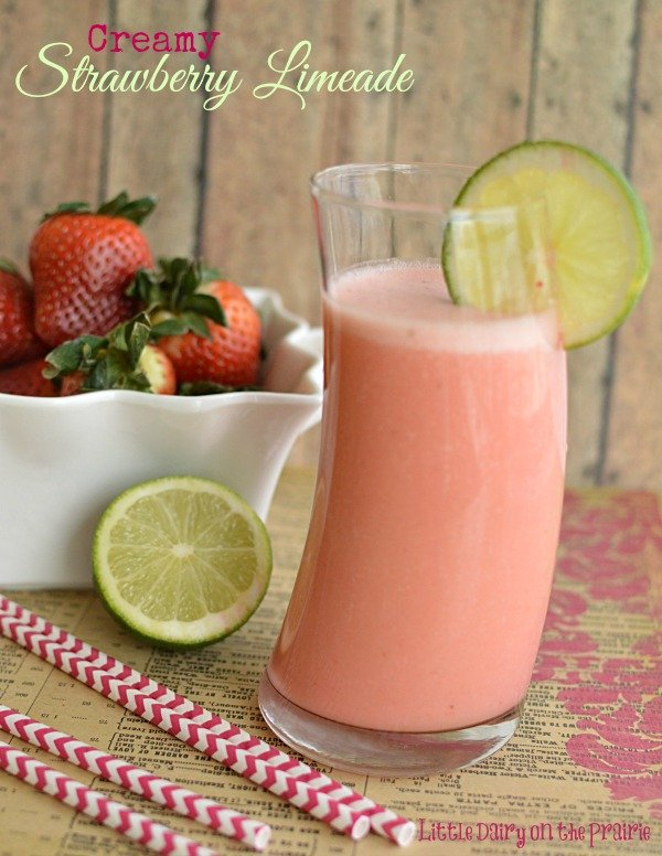 Creamy Strawberry Limeade! So refreshing! - Little Dairy on the Prairie #VitaMix