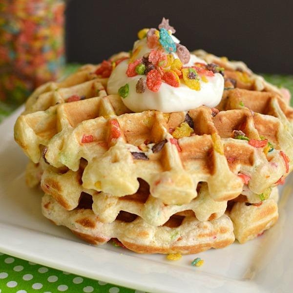 Fruity Pebble Waffles!!!