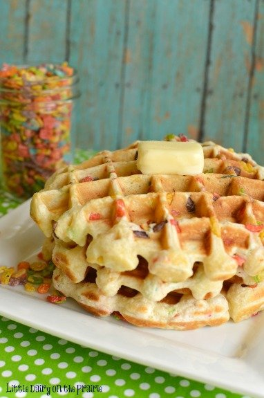 Fruity Pebbles Waffles! Love these with strawberry syrup! - Little Dairy on the Prairie