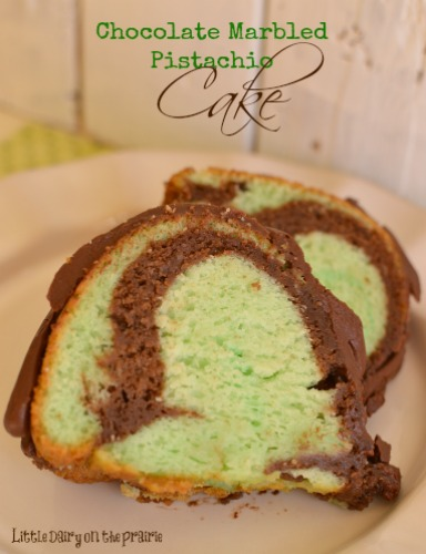 Pistachio Cake Marbled with Chocolate!  Little Dairy on the Prairie  Love this for St. Patrick's Day, Easter and Christmas!