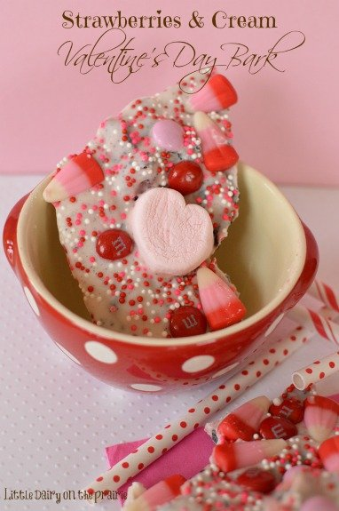 Strawberry bark loaded with all kinds of Valentines goodies!! - Little Dairy on the Prairie