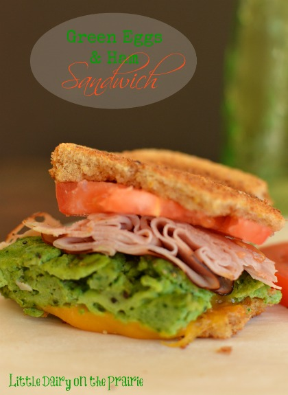 Green Eggs and Ham Sandwich for breakfast! Adding spinach to eggs is a great way to sneak a extra veggies in!  Little Dairy on the Prairie