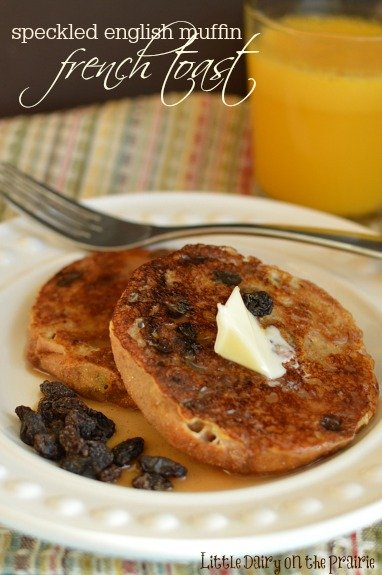 Speckled English Muffin French Toast! English muffins make french toast with an amazing texture!  Little Dairy on the Prairie
