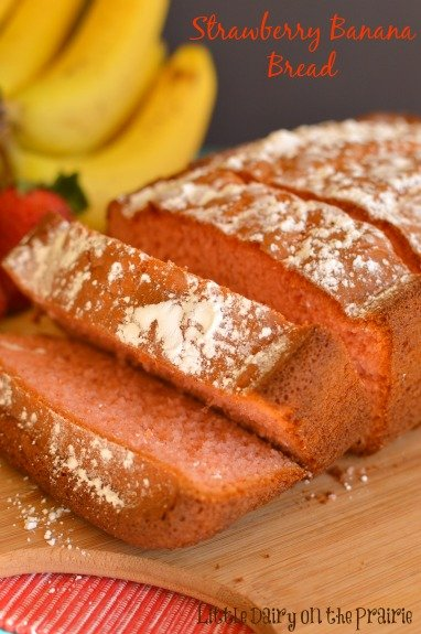 Strawberry Banana Bread! Uses a cake mix!  Little Dairy on the Prarie!