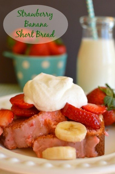 Strawberry short cake made with strawberry banana bread! Brunch or dessert!  Little Dairy on the Prairie