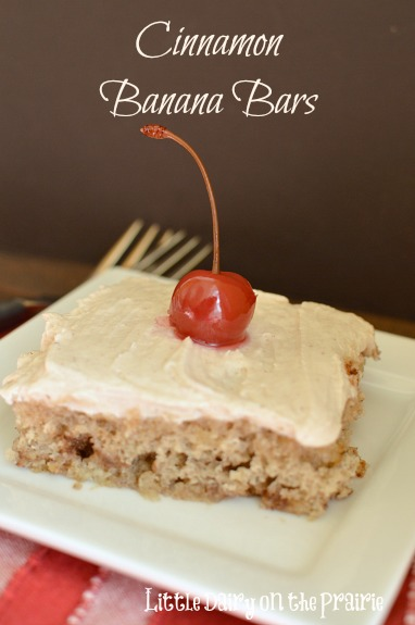 Cinnamon makes these banana bars extra decadent! Greek yogurt makes them a healthier too! Little Dairy on the Prairie