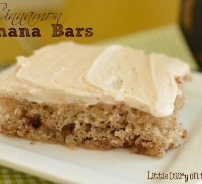 Greek yogurt makes these banana bars extra moist!  Little Dairy on the Prairie