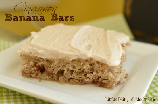 Greek yogurt makes these banana bars extra moist! Little Dairy on the Prairie