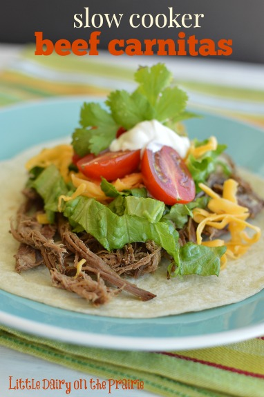 Slow Cooker Beef Carnitas are quick to make. My family loves using the leftover meat for nachos, quesadillas, etc later!  Little Dairy on the Prairie