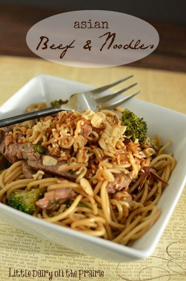 Asian Beef and Noodles is Pioneer Woman's Sesame Noodles topped with toasted sesame seeds and almonds! Little Dairy on the Prairie