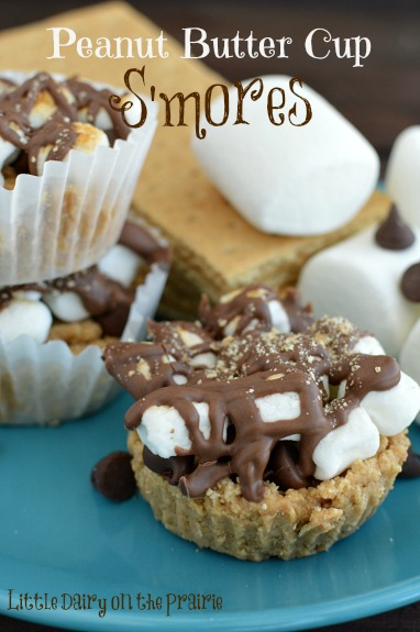 I'm all about s'mores and these Peanut Butter Cup S'mores do not disappoint!  Little Dairy on the Prairie