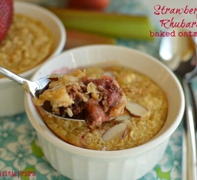 Who can resist a healthy breakfast that tastes like dessert Lovin' this strawberry rhubarb baked oatmeal!  Little Dairy on the Prairie