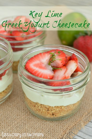 Key Lime Greek Yogurt Cheesecake Cups! Delicious no bake dessert!  Little Dairy on the Prairie