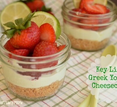 Light and refreshing cheesecake you can feel good about eating thanks to Greek Yogurt and light cream cheese!  Little Dairy on the Prairie