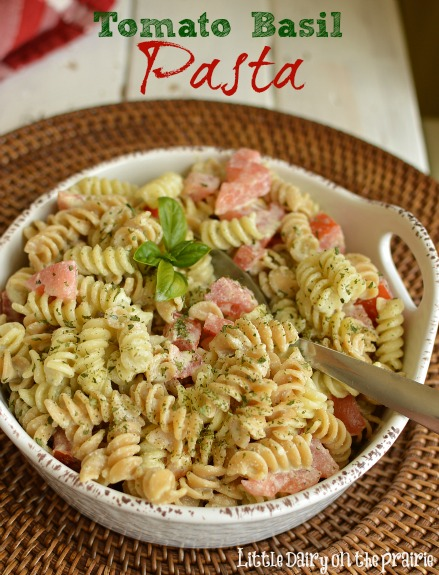 Tomato Basil Pasta! A favorite summer side dish, or add grilled chicken and make it a main dish!  Little Dairy on the Prairie