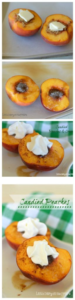 Candied Peaches are the perfect 3 ingredient fall dessert! Pretty enough for company easy enough for after school snacks! Little Dairy on the Prairie