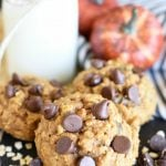 Pumpkin Oatmeal Chocolate Chip Cookies are super soft cookies made with pumpkin puree, oatmeal, flour, chocolate chips, and all the traditional pumpkin spices! pitchforkfoodie.com #cookies #chocolate #pumpkin #oatmealcookies #chocolatechipcookies #dessert #baking #treats #snacks #recipe