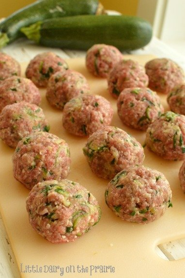 beef meatballs formed into balls, not baked