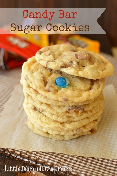 Candy Bar Sugar Cookies! A perfect home for all that leftover Halloween candy!  Little Dairy on the Prairie