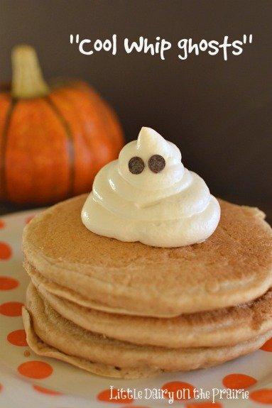 I make Cool Whip Ghosts ahead of time and stick them in the freezer. The kids love them on all kinds of things all through October!  Little Dairy on the Prairie