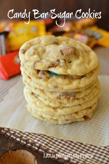 My very favorite sugar cookie packed with candy bars! Even better!  Little Dairy on the Prairie